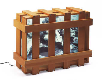 A wooden skeletal crate containing a light box.  A transparency  on the light box has an image of...