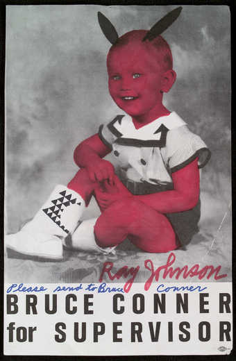 An image of Bruce Conner as a child on a campaign poster for Supervisor.  Johnson added a design...