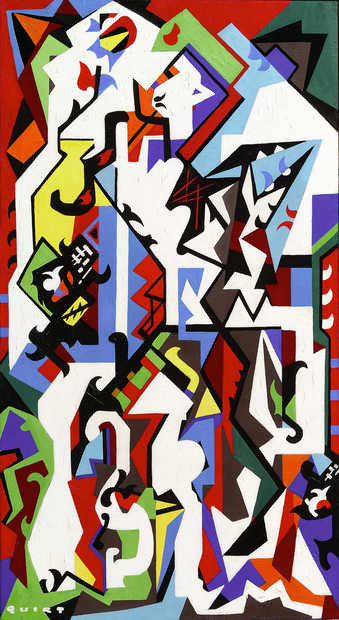 brightly colored shapes placed in an hierarchy reminiscent of synthetic cubism.