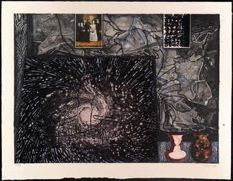 various images compiled together, including image of Merce Cunningham, on dark blue-gray background