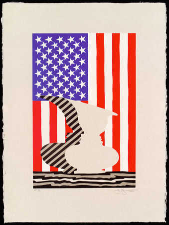 An image of a double face vase in front of an American Flag.  A larger version of 2001.198