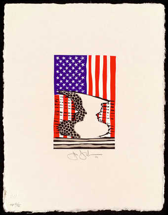 An image of a double face vase in front of an American Flag.  A smaller version of 2001.197