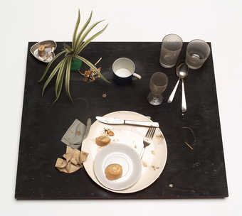 The remnants of a meal eaten by Bruce Conner in 1964
