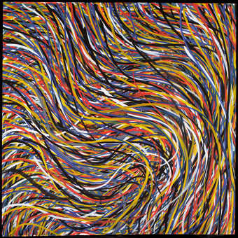 colorful bands of wavy lines running from upper left to lower right and overlapping