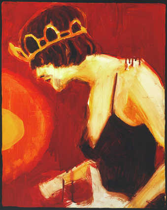 Painting of the late Kurt Cobain wearing a woman&amp;#x27;s dress and tiara while performing with his...