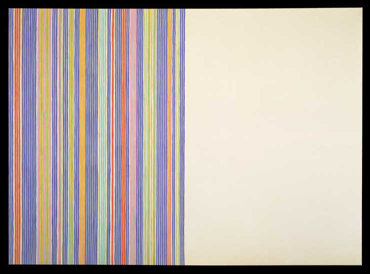 Left side of canvas is composed of vertical stripes top to bottom of blue, light blue, pink,...