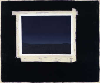 Dark landscape framed with faux masking tape on a black field