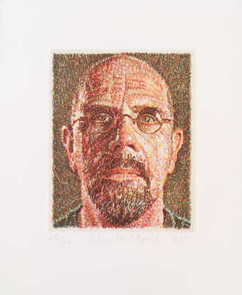 A self-portrait comprised of short colored wavy lines, made from nine color plates