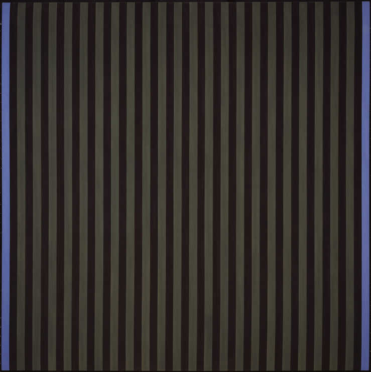 series of horizontal stripes, blue stripes bracket the alternation of olive gray and blackish...