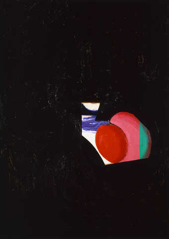 Most of image is masked by black overpainting.  Small area of image left uncovered RC red round...