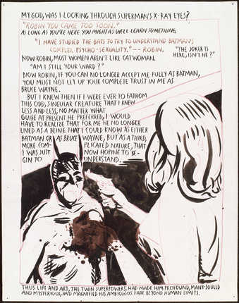 "drawing of a woman pointing a gun at Batman;text reads ""My god, was I looking through..."