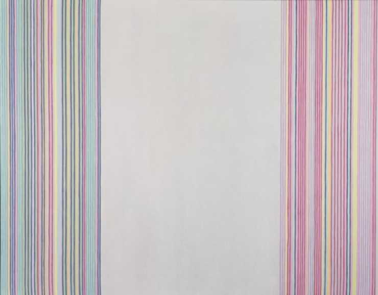 thin pastel-colored stripes left and right edges with blank space at center