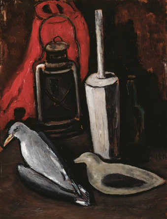 Still LIfe of two dead seagulls in front of a bottle, churn, lantern and a bright red form all on...