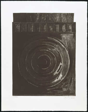 An image of a target.  Across the top two rows of nine rectangles.  Drypoint with existing...