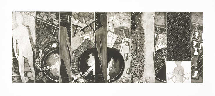 A combination of images Winter, Sping, Summer, Fall printed in black across the sheet.  An...