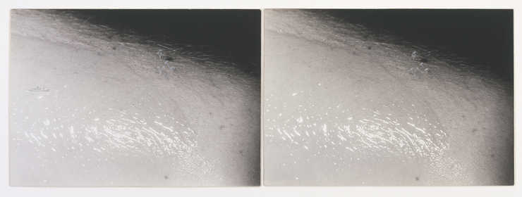 A pair of photographs of a close-up view of an arm with oil on it.  A boat and palm trees are...