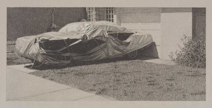 An image on a parked, covered car.  The cover has large tears in the side.  Paper is watermarked...