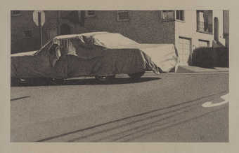 An image of a covered car parked along the street