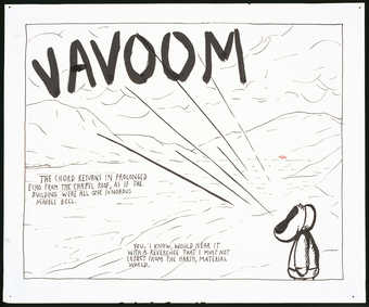 "figure with mouth wide open shouting ""Vavoom"";text reads ""The chord returns in..."