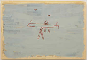 An image of an empty teeter-totter with two birds flying in the background.  Painted on a page of...