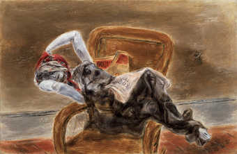 Figure reclining over the arms of a chair