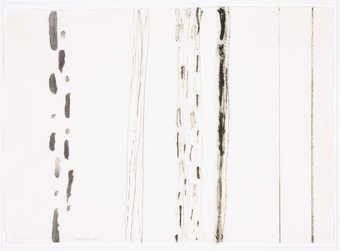 black vertical markings on white paper