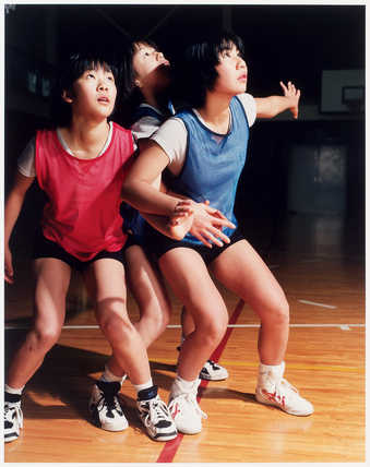 12 images of members of the Goshogaoka Middle School girls basketball team.  Included in this...