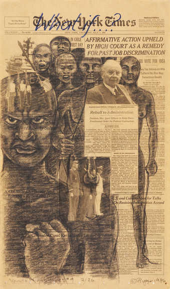 A group black figures superimposed surrounding a white man under the headling &amp;quot;Affirmative...