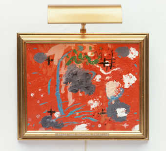 An abstract painting in an artist selected frame, installed with a picture light.BC of frame in...