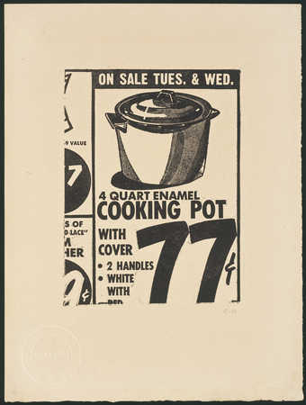 A black and white detail of a newspaper advertisement for a 4 quart enamel cooking pot. Published...