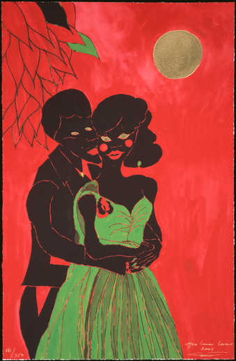 An image of an embracing couple on a red ground, under a gold moon.  Produced on the occasion of...