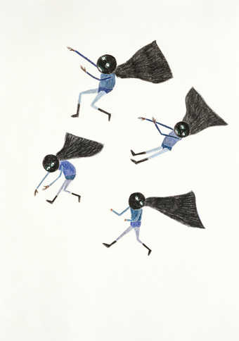an image of four falling caped figures