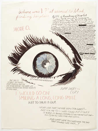 "an image of an eye with the text ""Where was I"" across top and lots of other text"