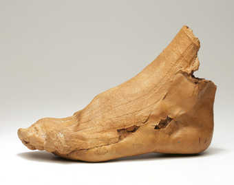 A latex cast of the artist's partially socked foot