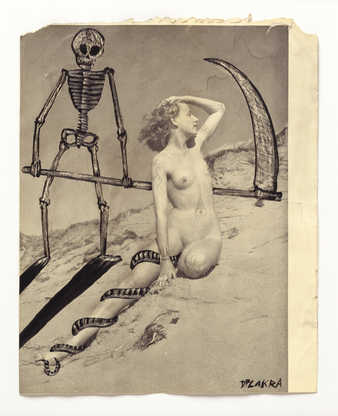 Vintage pornography onto to which the artist has drawn.  An image of a kneeling woman next to a...