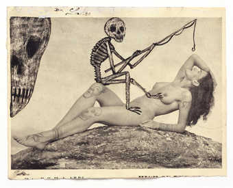 Vintage pornography onto to which the artist has drawn.  A reclining nude with a skeleton perched...