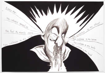 A stylized image of a man with liquid coming out of his nostrils and words coming out of his ears.