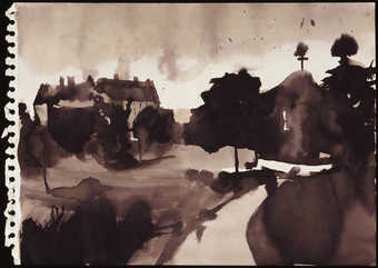 A black and white landscape drawing.