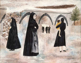 men carrying a casket in the background; three women and child in the foreground