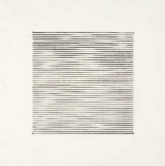A series of black varying width horizontal lines on vellum