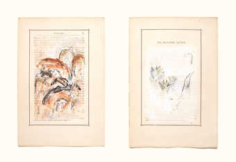 abstract forms over pages from a book