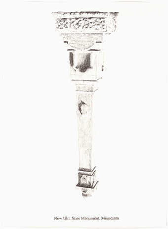 A pencil drawn image of an inverted monument.  Text under the image &amp;quot;New Ulm State Monument,...