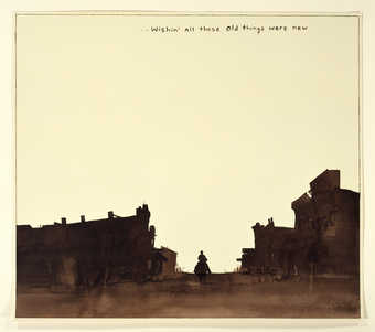 A silhouette image of a cowboy riding down a western towns main street.  Text across top in brown...