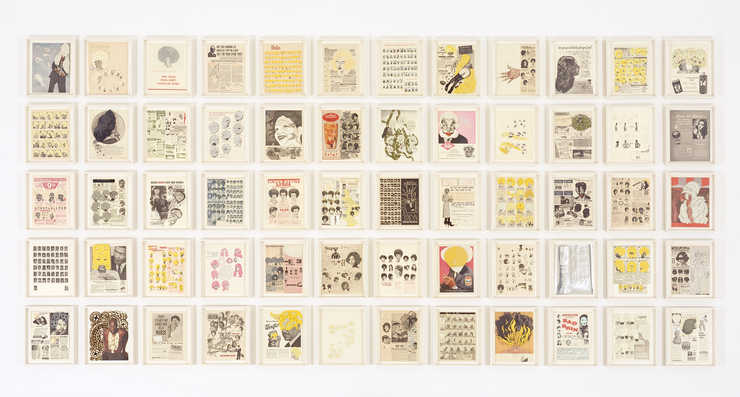 vintage advertisements overprinted, many with sculptural additions