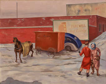 two women standing on a street talking, mid and background horse pulling a red wagon that has a...