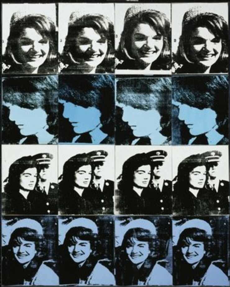 4 different poses of Jackie repeated four times secured together in four rows.  Source image...