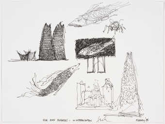 An ink drawing of fish various architectural configurations.  Given to donor by artist, in...