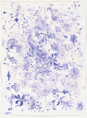An abstract composition in blue ink executed in a manner in which the artist wet the support...