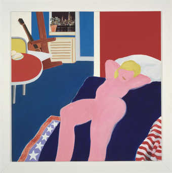 minimal representation of a reclining nude on a bed . In background on room a table, easel,...