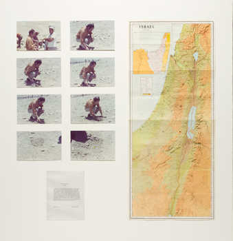 Photographs documenting the making of a conceptual artwork, a map indicating the site, and a...